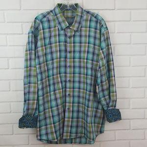 Alan Flusser Plaid Cotton Button Down Shirt